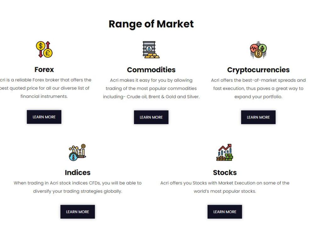 acri pro range of market